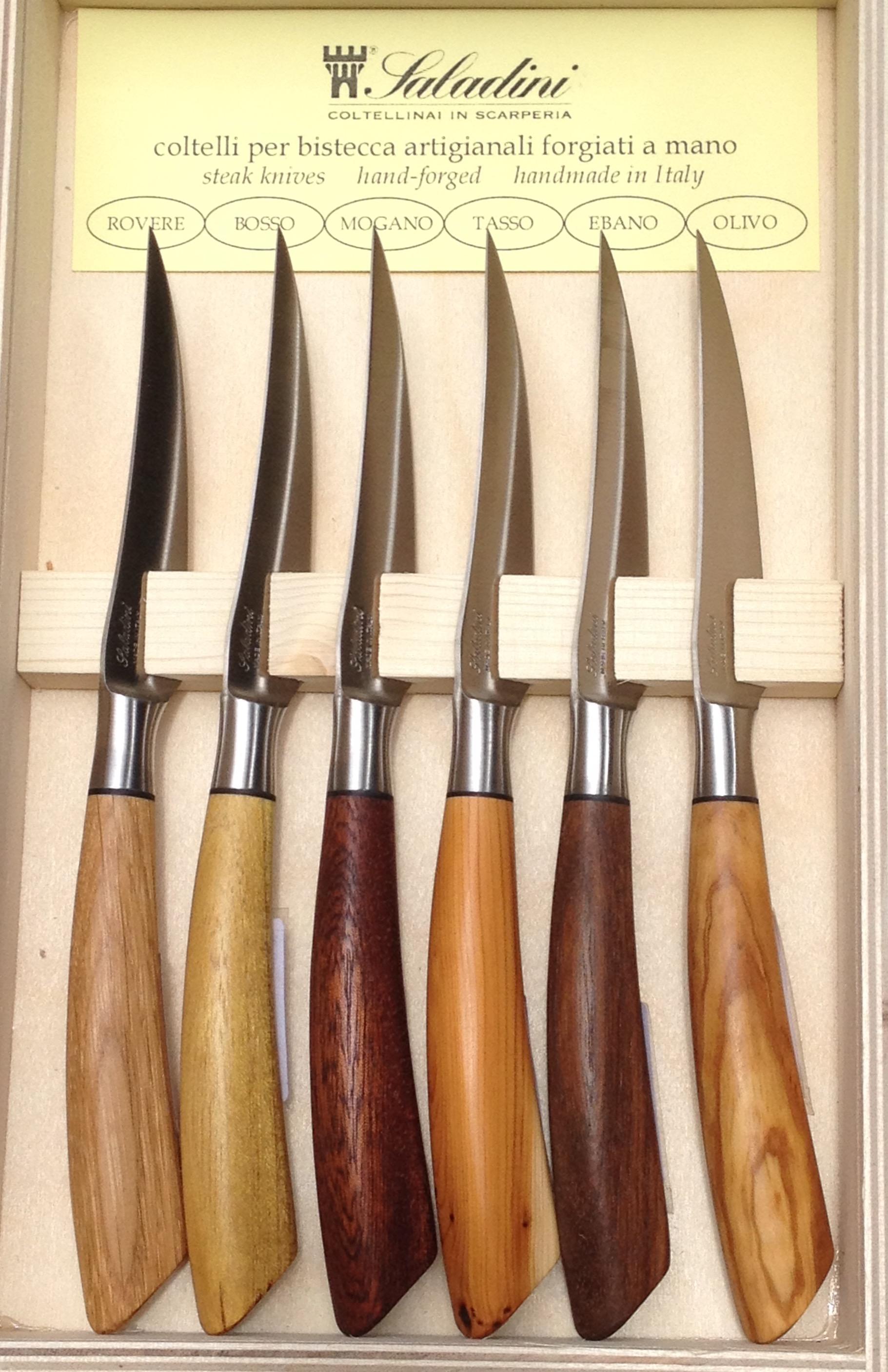 6 coltelli forgiati per bistecca vari legni accessori per - Coltelli da tavola tramontina ...